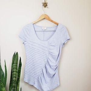 Anthro Deletta ruched lilac tee L top purple